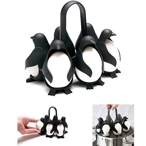 N\ A Pinguin Gekochter Eierkocher Multifunktionaler Eierkocher-Ständer Geeignet Für Die Aufbewahrung Im Kühlschrank Und Kochwerkzeuge Zum Kochen Von Essbaren Eiern 14×12×12cm/schwarz