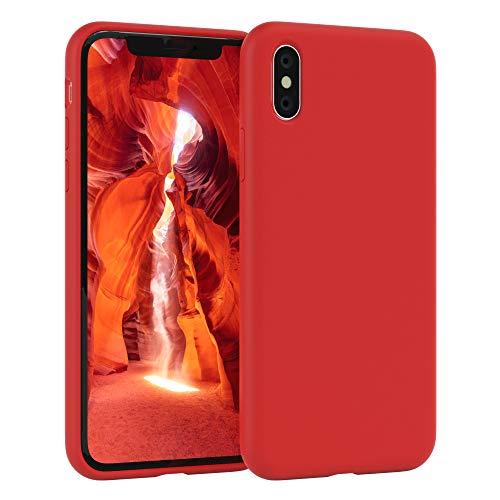 EAZY CASE Premium Silikon Handyhülle kompatibel mit Apple iPhone X/XS, Slimcover mit Kameraschutz & Innenfutter, Silikonhülle, Schutzhülle, Bumper, Handy Hülle, Hülle, Softcase, Rot