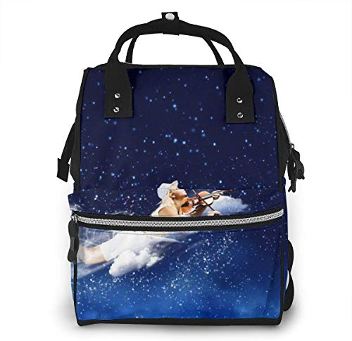 UUwant Sac à Dos à Couches pour Maman Diaper Bag,Versatile Stylish and Durable, Suitable for Mom and DadBlonde Girls Fly and Play Violin in The Night Sky