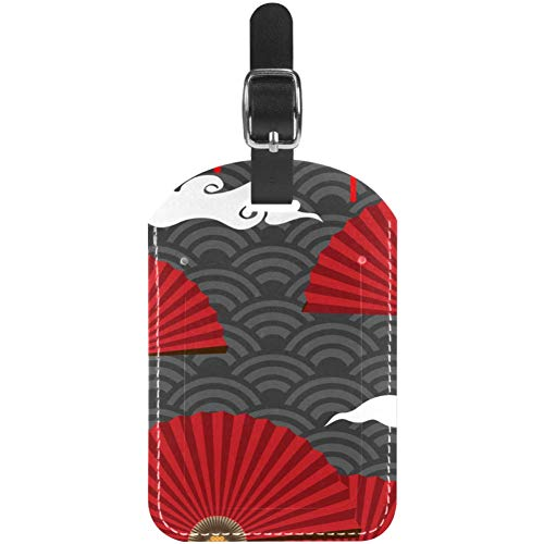 Luggage Tags Red Chinese Fans On Wave Cloud Leather Travel Suitcase Labels 1 Packs
