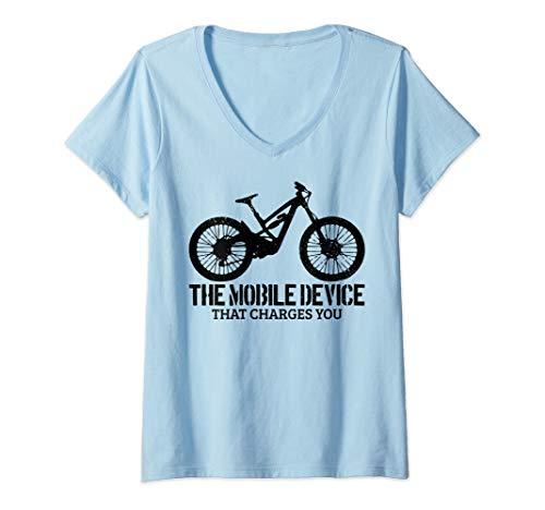 Womens Mountain Bike MTB Downhil Biking Mountain Biker Gift Funny V-Neck T-Shirt