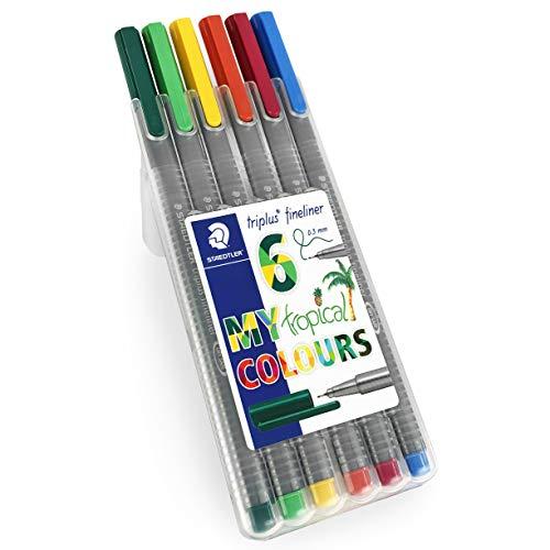 Staedtler Triplus Fineliner Pens - 0.3mm - Dry Safe - Tropical Colours - Wallet of 6