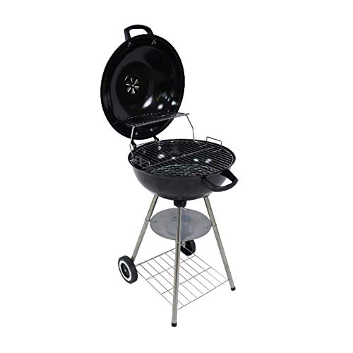 George Foreman GFKTBBQ1801B Portable Round Kettle Charcoal BBQ, Adjustable Vent, Lid Mounted Temperature Gauge, 2 Wheels & Chrome Grill
