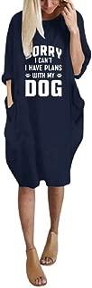 Howely Women Crew-Neck T Shirts Long Sleeve Pocket Letter Print Midi Dress