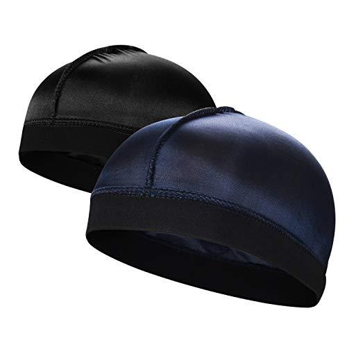 2PCS Silky Stocking Wave Cap for Men, Good Compression Over Durag,E