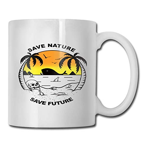 Tinta de taza de cerámica blanca Impresión a doble cara Save Nature Taza de café brillante Taza de bebida Taza de té Oficina 11oz