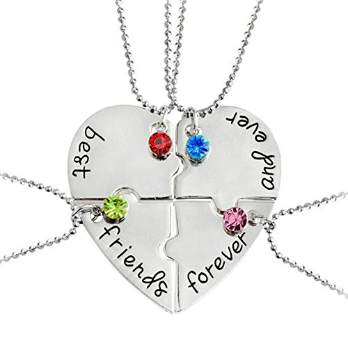 Best Friends Forever and Ever Necklace with Crystal Broken Heart Charm Pendant Set Friendship Necklace