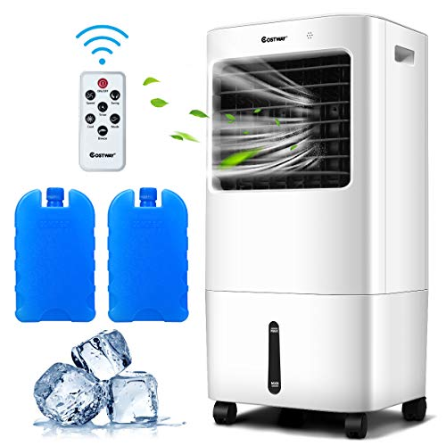 COSTWAY Evaporative Cooler, 3-in-1 Cooler, Fan and Humidifier with 7.5H Timer, 4 Speeds and 3 Modes, Remote Control, Portable Air Cooler with 4 Wheels, 2 Ice Boxes for Home Office