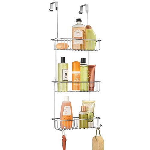 mDesign Metal Over Shower Door Caddy, Hanging Bathroom Storage Organizer Center with Built-In Hooks and Baskets on 3 Levels for Shampoo, Body Wash, Loofahs - Chrome