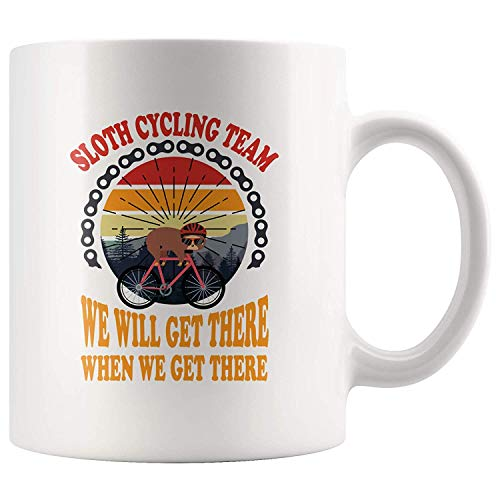 Sloth Cycling Team We Will Get There Retro Vintage Sunset Coffee Mug Funny Gift For Cyclist Slow Lazy People Animal Lover 11 oz White Ceramic Tea Cup Dishwasher and Microwave Safe