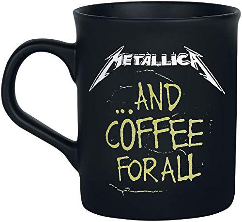Metallica And Coffee For All Unisex Tasse mattschwarz Keramik 0,3 l Band-Merch, Bands