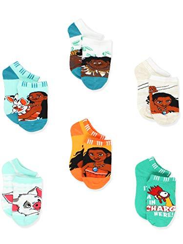 Disney Princess Moana Girl#039s Toddler Women#039s No Show 6 pack Socks Set Shoe: 104 Sock: 68 Teal
