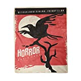 rouihot 60x80 Inches Flannel Throw Blanket Horror Movies Retro Poster Design with Black Raven on Red Vintage Flyer with Crow Home Decorative Warm Cozy Soft Blanket for Couch Sofa Bed