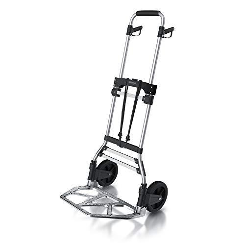 Brandson – Sackkarre 5,2 kg klappbar – 120 kg Last – Transportkarre - Vollgummireifen –- inkl. Expanderseil – Aluminium – gummierter Griff – arretierbar auf 90/115 cm