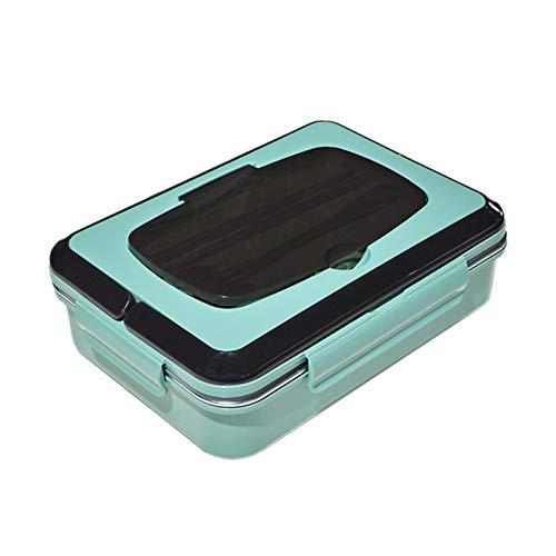 Boîte à bento respectueuse de l'environnement - Grande capacité - Avec couverts en acier inoxydable - Design à 4 sections - Pour adultes et enfants - Passe au lave-vaisselle