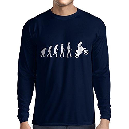 lepni.me Maglietta a Manica Lunga da Uomo Evoluzione del Motocross Equipaggiamento per Moto da Bicicletta Sporca Abbigliamento da Corsa (Large Azzulo Bianco)