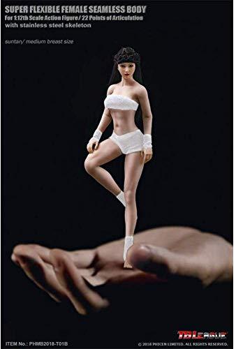 ZSMD TBleague Female Nahtlose Actionfiguren Full Set-Silicone Body + Head + Underwear-1/12 Superflexible Female Dolls Für Kunst/Zeichnung/Fotografie (TBleague T01A (blass)) (Wheat Skin Tone)