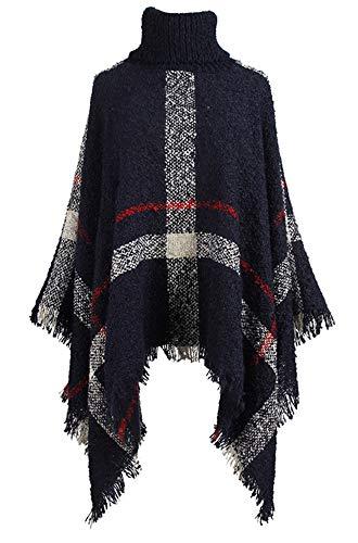 Foluton Damen Rollkragen Fledermaus Quasten Poncho Cape Sweater Übergroße Pullover Strick Schal Tops