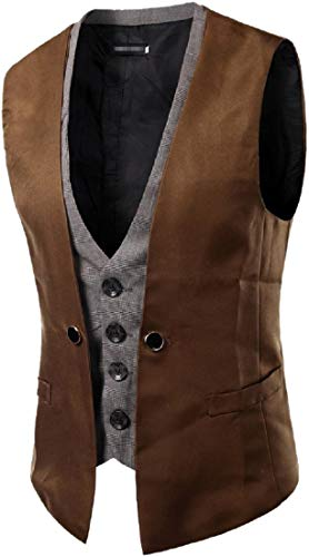 GenericC Men's Sleeveless Casual Slim Fit Button-Up Coat Solid Vest Camel S