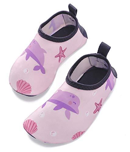 Swimbubs Kinder Wasserschuhe Baby Schwimmsocken Kleinkind Aqua Beach Schuhe (30/31 EU, Delphin-Rosa)