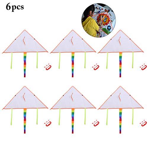 Fansport Flugdrachen für Kinder,Kinder-Drachen Outdoor Drachenspielzeug, 6 Graffiti Flying Kites Kinder Kite Drachen Kreative Blank Malerei DIY Flying Kite mit Swivel und Line