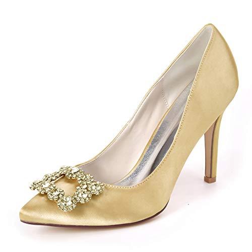 QXue Mujer Zapatos de Boda Pedrería Satinada Tacón Alto Zapatos de Novia Ballet con para Boda, Fiestas, Novias, Damas de Honor,Oro,37 EU