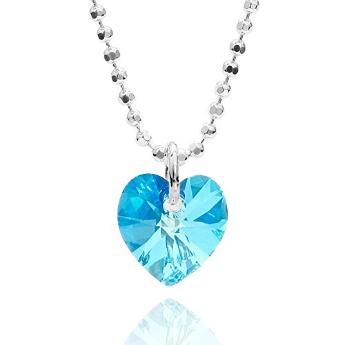 butterfly Mädchen Hals-Kette Sterlingsilber 925 Swarovski Elements Herz-Anhänger Hell-blau Längen-verstellbar Satin-Beutel Geschenk