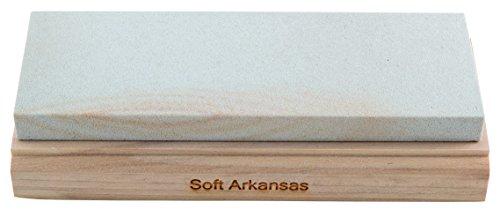 RH PREYDA Soft Arkansas Schleifstein, Körnung 400-600, Stein 150x50x12 mm, Holzplattform
