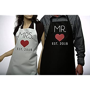 Mr. and Mrs. 2018 Couples Kitchen Aprons (2-Piece Set) Cute, Funny Cooking Bibs for Wedding Marriage Newlyweds