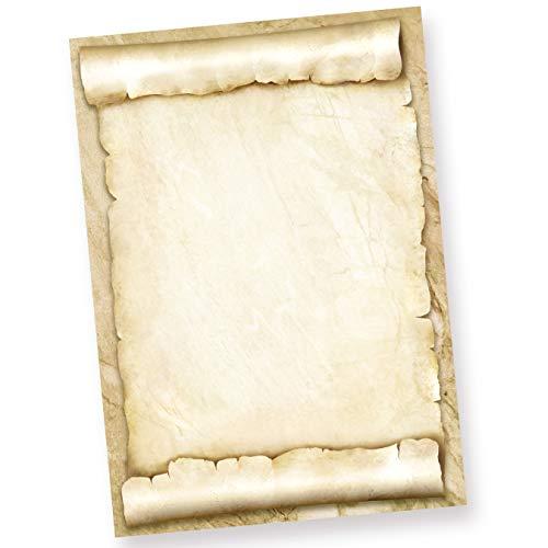 TATMOTIVE Briefpapier Urkundenpapier blanko (25 Blatt) 170 g/qm A4 Pergamentrolle als Briefe, Zertifikate und Urkunde, für Firma Geburtstag, Hochzeit, Verein uvm.