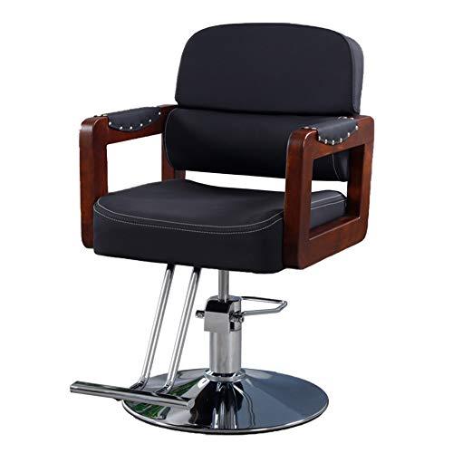 MYYU Sillas De Barbero Taburete De Bar Altura Ajustable Cuero PU Impermeable Hydraulic Silla De Peluquería Barber Chair para SPA Belleza,Negro