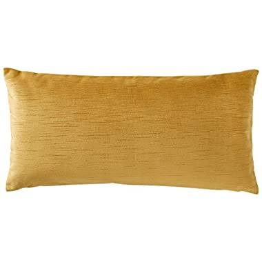 Rivet Velvet Texture Striated Pillow, 12  x 24 , Honeycomb