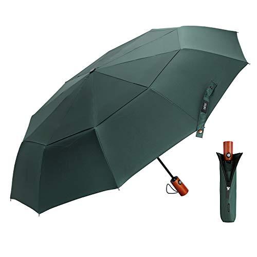 EKOOS Regenschirm Taschenschirm Automatik Groß Winddicht Doppel Baldachin 210T Stoff Auf-Zu-Automatik10 Rippen mit Fiberglas Gestänge (Mitternachtsgrün)