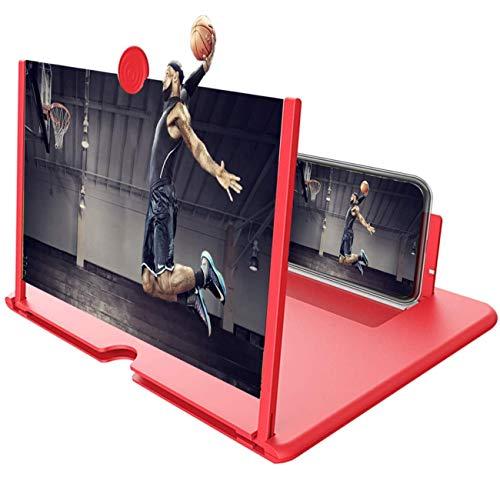 Eastor Handy Bildschirmlupe,12 Zoll Handy Lupe,3D Bildschirm Vergrößerungsglas für das Ansehen von Filmvideos,Faltbarer Handylupe Bildschirm Vergrösserung für alle Smartphones(rot)