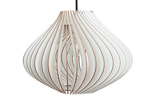 wodewa Moderne Pendelleuchte Holz Deckenleuchte Ventus weiß LED E27 Nachhaltige Deckenlampe Birkenholz Holzlampe höhenverstellbar Hängelampe