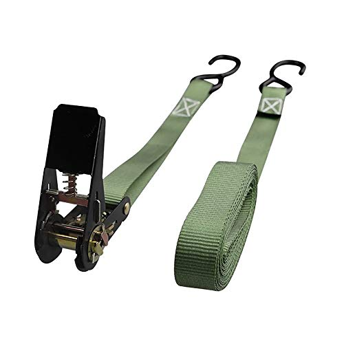 25mm x 6m Ratcheting J-Hook Tie-Down Strap - 600Kg Break Strength for Cargo Moving (Color : Green, Size : 25mmx5m)