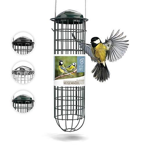 wildtier herz | Meisenknödelhalter - Futtersäule für Vögel zum Aufhängen mit Edelstahlgitter, ökologische Vogelfütterung ohne Netz