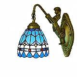 Apliques de pared Lámpara de cabeza sencilla de 5.9 pulgadas estilo Tiffany Lámpara Sconce de pared Tazón de sombra Lámpara de pared Lámparas nocturnas Industrial Vintage-Azul Lámpara de pared