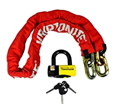 15 LBS 14mm 5 foot chain with six-sided chain-links made of 3t HARDENED MANGANESE STEEL Includes maximum security New York Disc Lock with 15mm MAX-PERFORMANCE STEEL SHACKLE Durable, protective nylon cover with hook-n-loop fasteners to hold in place H...