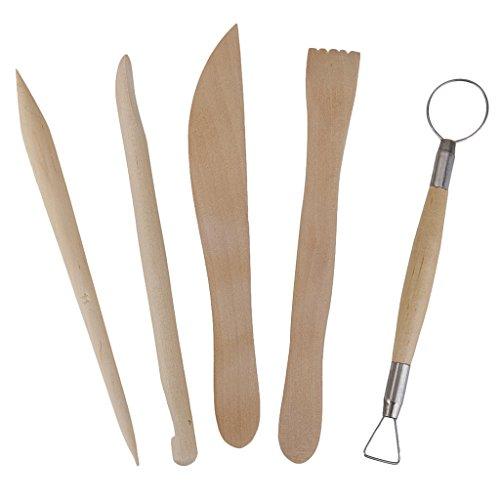 5Stk. Holz Keramik Ton Skulptur Carving Werkzeug setzen