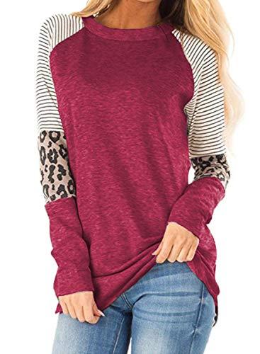 CORAFRITZ Leichtes Leoparden-gestreiftes Sweatshirt für Damen Langarm-Tunika-Blusenhemd mit Langen Ärmeln