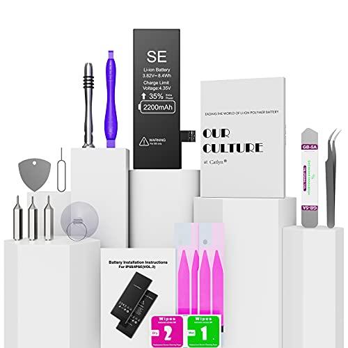 Batería para iPhone 5s 2200mAh con 40% más de Capacidad Que la batería Origina, Reemplazo de Alta Capacidad Batería para iPhone 5s con Kits de Herramientas de reparación, 2 Años de Garantía