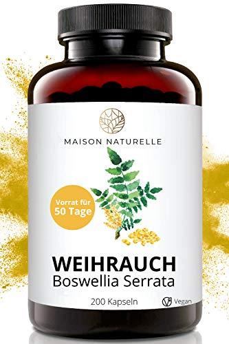 MAISON NATURELLE® - Weihrauch Extrakt Kapseln (200 Stück) - Boswellia Serrata – hochdosiert mit...
