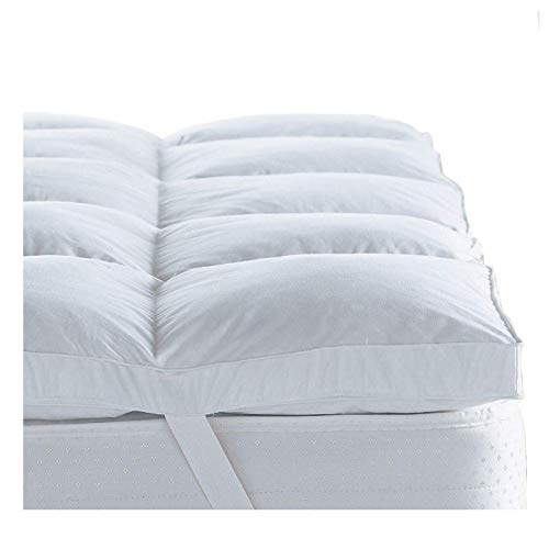 Lancashire Bedding Premium Extra Plump & Deep Duck Feather Mattress Topper with 100% Breathable Keep Cool Natural Cotton Casing - King Size