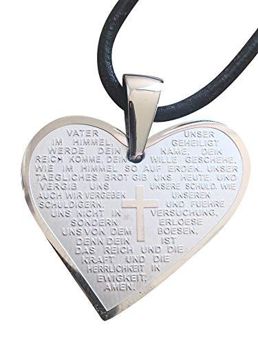 Motivationsgeschenke Vater Unser Gebet Herz Anhänger 3 cm Edelstahl Lederband Religiöser Schmuck