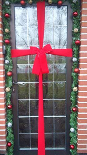 Rote Fertigschleife Haustür, Hauseinweihung, Laden, Dekoschleife Hauseingang, Weihnachtstür