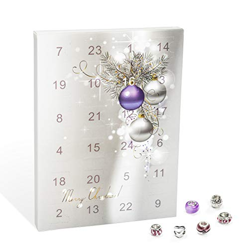 VALIOSA modieuze adventskalender, Merry Christmas met halsketting, armband + 22 individuele parelhangers van glas en metaal, het bijzondere cadeau voor meisjes en vrouwen