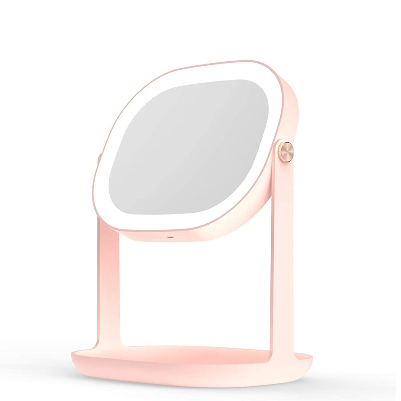 レンダリング病院否認する化粧鏡 LEDライトと化粧品収納ボックス付き 明るさ調節可能 高品質ガラス360°回転 48時間使用できる 、壁にDIY掛けるベルトも付き