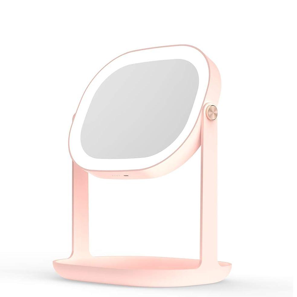 邪魔する静脈やがて化粧鏡 LEDライトと化粧品収納ボックス付き 明るさ調節可能 高品質ガラス360°回転 48時間使用できる 、壁にDIY掛けるベルトも付き