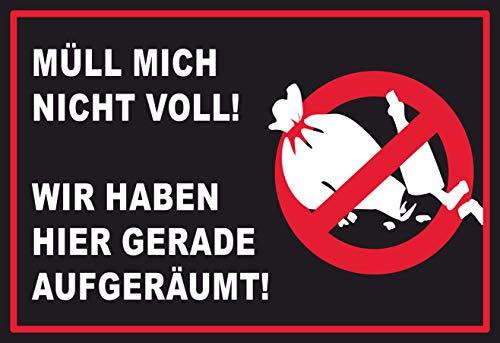 SCHILDER HIMMEL anpassbares Müll abladen verboten Schild 29x21cm Alu-Verbund mit Klebestreifen, Nr 189 eigener Text/Bild verschiedene Größen/Materialien